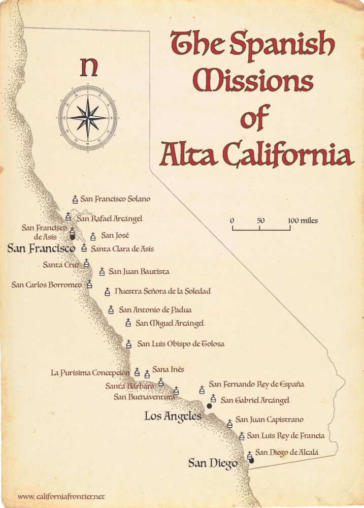 California Missions Map The California Frontier Project